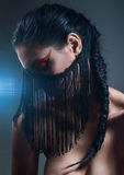 Dark portrait with black fringe on face Royalty Free Stock Photo