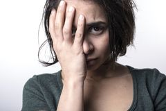 Dark portrait woman depress Stock Image
