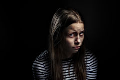 Dark portrait of a depressed teen girl. Studio shot Royalty Free Stock Image