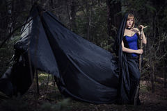 Dark portrait of the forest keeper. Fantasy and Royalty Free Stock Images
