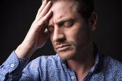 Dark portrait men depress Stock Photo