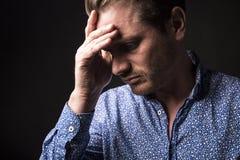Dark portrait men depress Royalty Free Stock Images