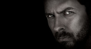 Dark Portrait Of Handsome Man Stock Image