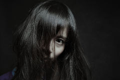 Dark portrait of a pale japanese woman royalty free stock photos