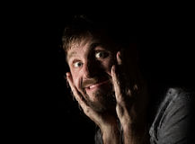 Dark portrait of scary bearded man with smirk, expresses different emotions. Drops of water on a glass, hand and male Royalty Free Stock Photography