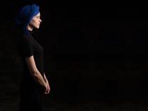 Dark Portrait Woman Profile Stock Image
