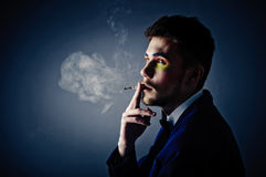 Dark portrait of the young man. Stock Photography