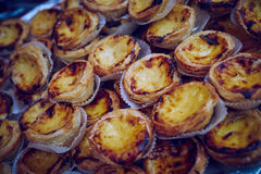 Dark Portugese custard tarts Stock Image
