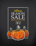 Dark poster for autumn sale. Black Poster for season sale. Autumn sale poster with the decor of paper cut pumpkins. The fall sale with sketches. Engraving retro vector illustration
