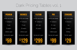 Dark pricing tables - set of five price banner templates suitable for web and e-shops Royalty Free Stock Photo