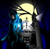 Dark priest. Illustration representing a dark priest in front of a deconsecrated church Royalty Free Stock Photography