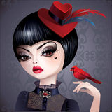 Dark princess queen of hearts in hat with bird Royalty Free Stock Photos