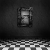 Dark, psychedelic room with a painting on the wall. Empty, dark, psychedelic room with black and white checker on the floor and a painting symbolizing hope, on vector illustration