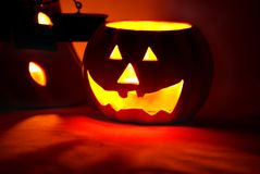 Dark Pumpkin Face Stock Images