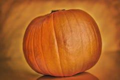 Dark pumpkin on orange background background, halloween theme Stock Photo