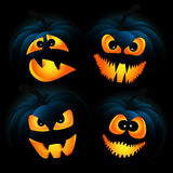 Dark pumpkins. Vector illustration for Halloween with pumpkins on a dark background Stock Photo