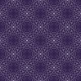 Dark purple abstract vintage background with rhomboid lace patterns. Seamless white vector ornament in diagonal stripes Royalty Free Stock Photos
