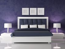 Dark purple bedroom. Fashio white and navy blue bedroom against dark purple stucco wall - rendering Royalty Free Stock Photos