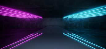 Dark Purple Blue Neon Glowing Tubes Futuristic Modern Empty Sci. Fi Grunge Concrete Reflective Room With White Lights And Stage Arena Background Spaceship stock illustration