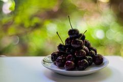 Dark purple cherry on white plate Royalty Free Stock Images