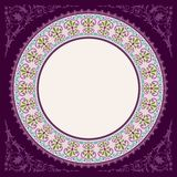 Dark purple decoratif islamic circle frame Stock Photos