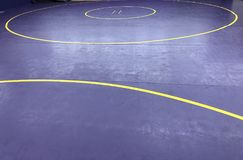 Wrestling mat. Dark purple and gold & x28;yellow& x29; wrestling
