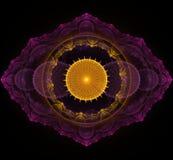 Dark purple and golden fractal mandala on black background Stock Photos