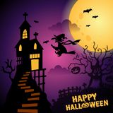 Dark Purple Happy Halloween Background Illustration flying witches royalty free illustration