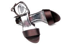 Dark purple ladies sandals Royalty Free Stock Photo
