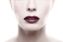 Dark Purple Lipstick on Pale Woman Face Stock Photos