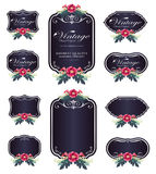 Dark purple luxury invitation flower labels and blank labels Royalty Free Stock Image
