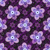 Dark purple seamless pattern with translucent flowers. Dark purple seamless pattern with translucent symmetrical flowers and diagonal stripes. Vector image. Eps royalty free illustration