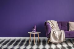 Dark purple sofa with a blanket beside a small table with bottle. S standing on black and white checkerboard floor in a minimalistic living room interior. Copy royalty free stock images