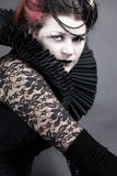 The Dark Queen. Woman dressed up in gothic style as dark queen in ancient victorian clothing Stock Photos