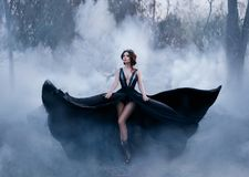 The dark queen, with bare long legs, walks fog. A luxurious black dress flares in different directions, like the wings stock photo