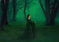 Dark queen of otherworldly forces leads into realm of dead souls. bloody vampire in long velor emerald dress lures into stock photo