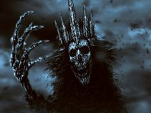 Dark queen pulls bony hand. Blue background. Dark queen with crown pulls bony hand. Blue background. Fantasy illustration royalty free stock images