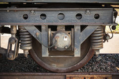 Dark railway carriage wheel with suspension details Stock Image