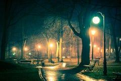 Dark Rainy City Park Royalty Free Stock Photo