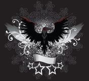 Dark Raven Emblem. Winged Dark Raven Emblem Illustration Royalty Free Stock Photo