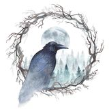 Watercolor raven on a wreath. Dark raven sitting on a wreath of bare branches, and winter forest with rising moon are behind. Watercolor illustration vector illustration