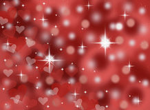 Dark red abstract bokeh valentines day card background illustration with sparkles and stars Royalty Free Stock Images
