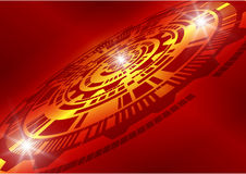Dark Red abstract technology background, vector illustration Stock Photography