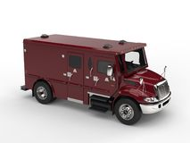Dark red armored transport car - top down view. Isolated on white background Stock Photo