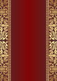 Dark red background. With gold ornaments Royalty Free Stock Image