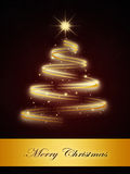 Dark red background with gold christmas tree Stock Photos