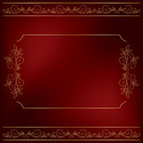 Dark red vector background with gold floral decor Royalty Free Stock Image