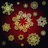 Dark red background with snowflakes Royalty Free Stock Photos