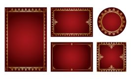 Dark red backgrounds with gold ornamental frames - vector set royalty free illustration