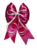 Dark red bow with silver ribbon made from silk Stock Image